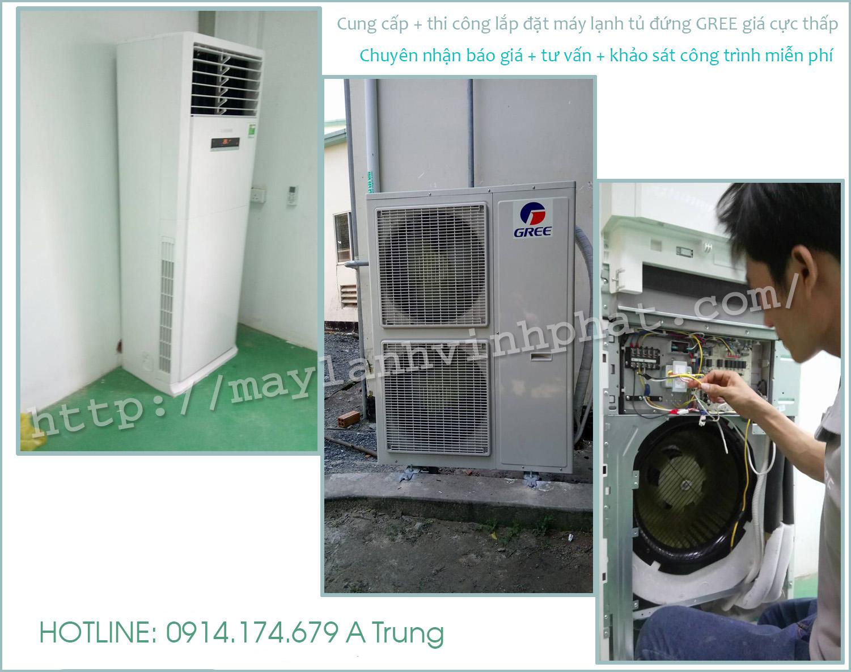Lắp máy lạnh tủ đứng GREE giá rẻ